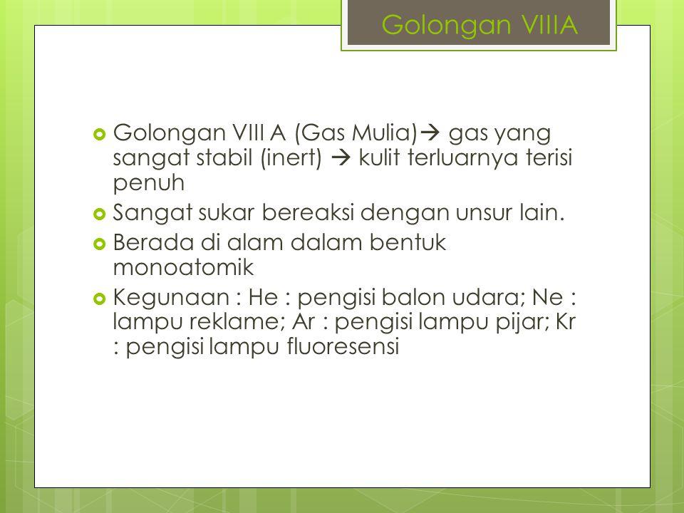 Golongan VIIIA Golongan VIII A (Gas Mulia) gas yang sangat stabil (inert)  kulit terluarnya terisi penuh.