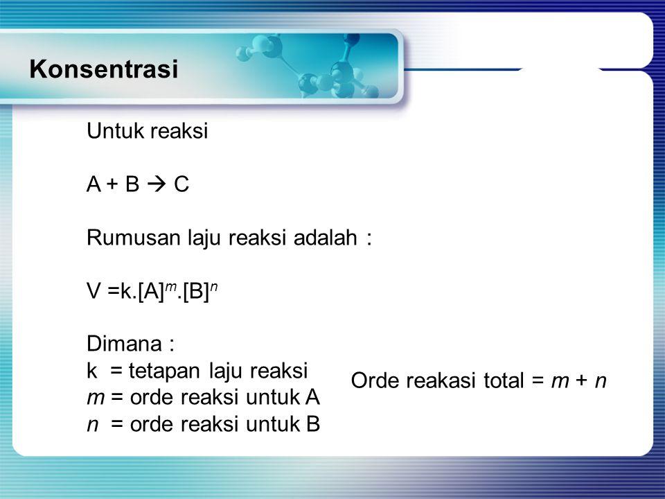 Konsentrasi Untuk reaksi A + B  C Rumusan laju reaksi adalah :