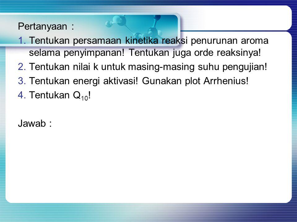 Pertanyaan : Tentukan persamaan kinetika reaksi penurunan aroma selama penyimpanan! Tentukan juga orde reaksinya!
