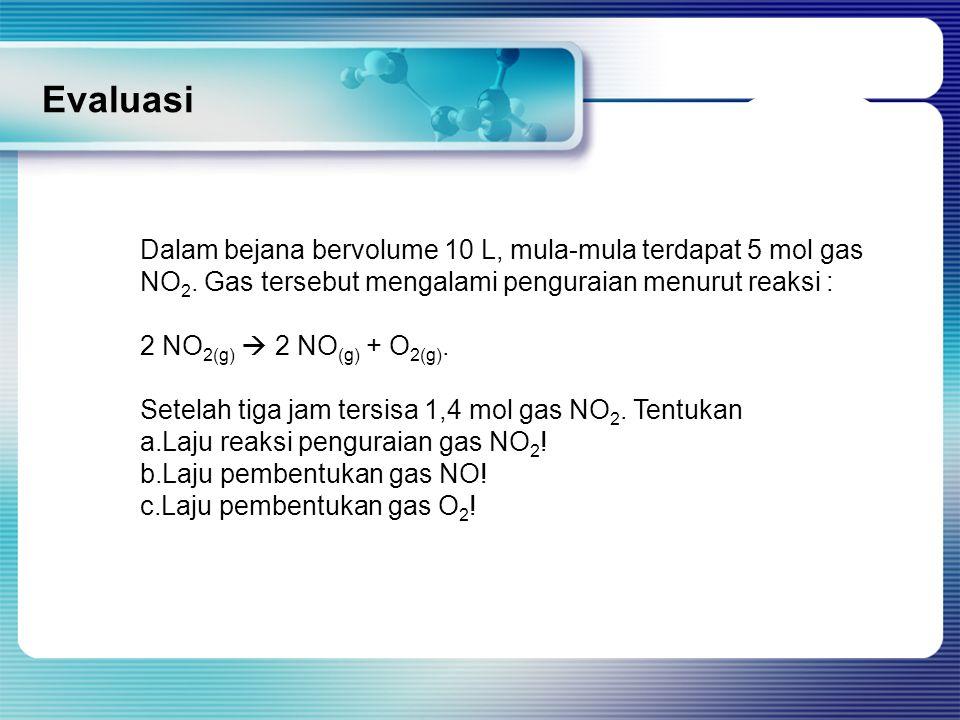 Evaluasi Dalam bejana bervolume 10 L, mula-mula terdapat 5 mol gas NO2. Gas tersebut mengalami penguraian menurut reaksi :