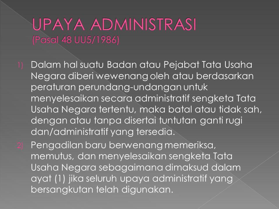 UPAYA ADMINISTRASI (Pasal 48 UU5/1986)