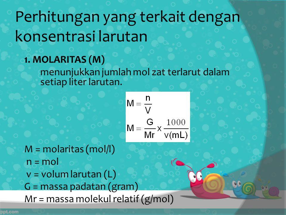 Perhitungan yang terkait dengan konsentrasi larutan