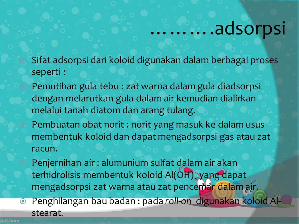……….adsorpsi Sifat adsorpsi dari koloid digunakan dalam berbagai proses seperti :