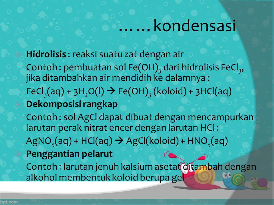 ……kondensasi Hidrolisis : reaksi suatu zat dengan air