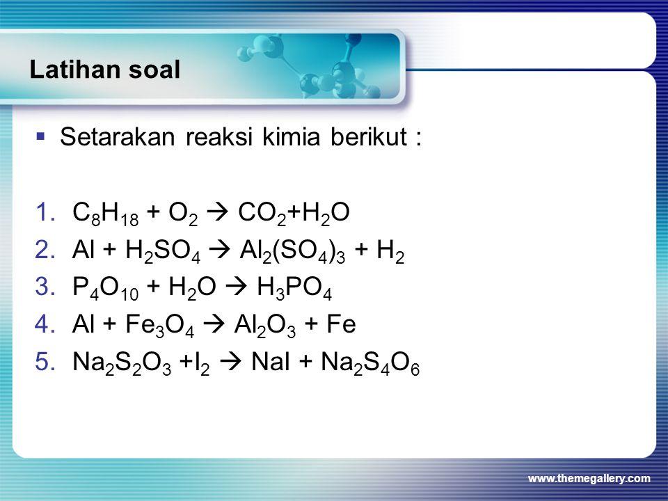 Setarakan reaksi kimia berikut : C8H18 + O2  CO2+H2O