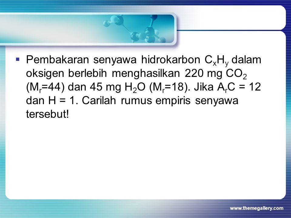Pembakaran senyawa hidrokarbon CxHy dalam oksigen berlebih menghasilkan 220 mg CO2 (Mr=44) dan 45 mg H2O (Mr=18). Jika ArC = 12 dan H = 1. Carilah rumus empiris senyawa tersebut!