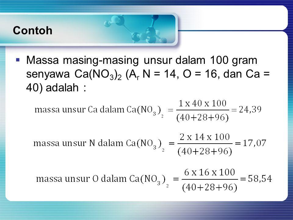 Contoh Massa masing-masing unsur dalam 100 gram senyawa Ca(NO3)2 (Ar N = 14, O = 16, dan Ca = 40) adalah :