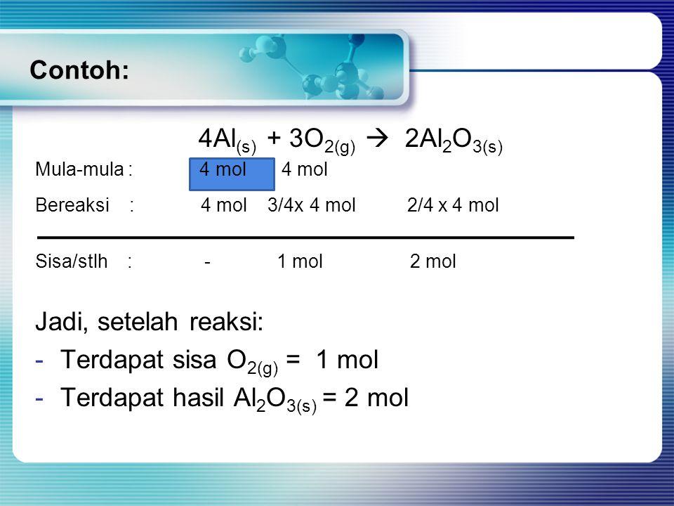 Terdapat sisa O2(g) = 1 mol Terdapat hasil Al2O3(s) = 2 mol