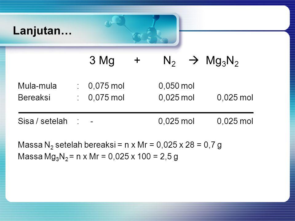 Lanjutan… 3 Mg + N2  Mg3N2 Mula-mula : 0,075 mol 0,050 mol