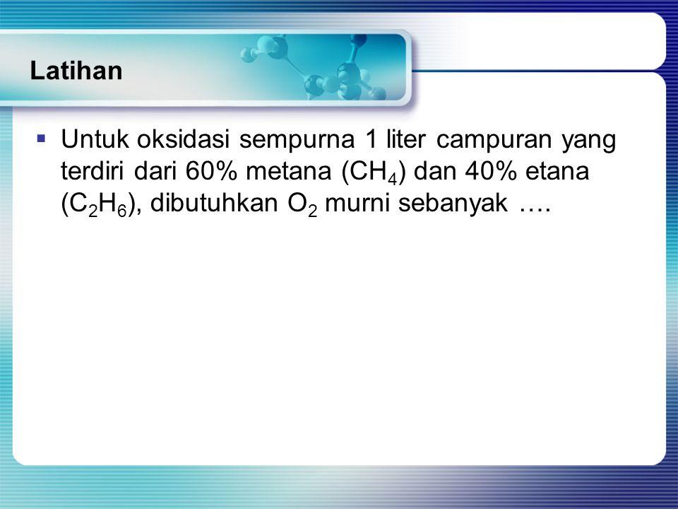 Latihan Untuk oksidasi sempurna 1 liter campuran yang terdiri dari 60% metana (CH4) dan 40% etana (C2H6), dibutuhkan O2 murni sebanyak ….