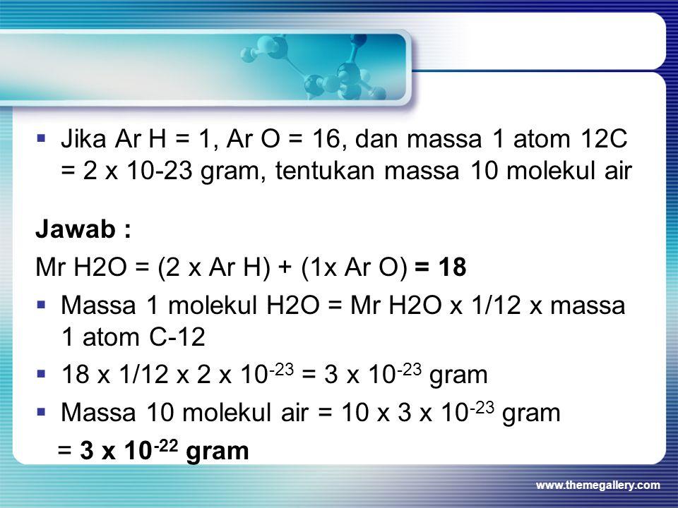 Massa 1 molekul H2O = Mr H2O x 1/12 x massa 1 atom C-12