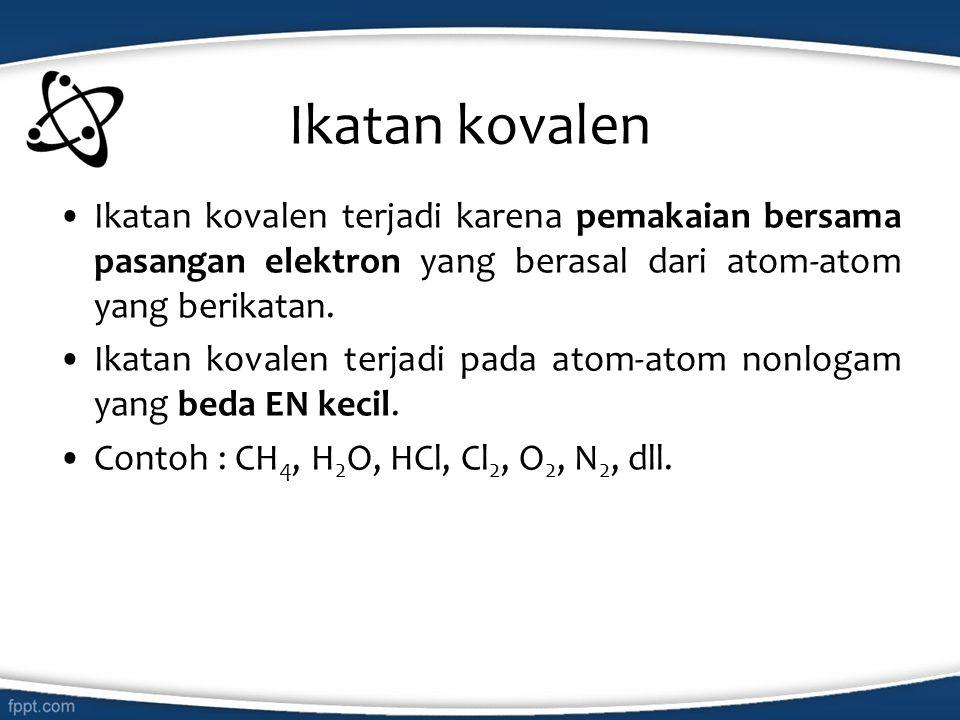 Ikatan kovalen Ikatan kovalen terjadi karena pemakaian bersama pasangan elektron yang berasal dari atom-atom yang berikatan.