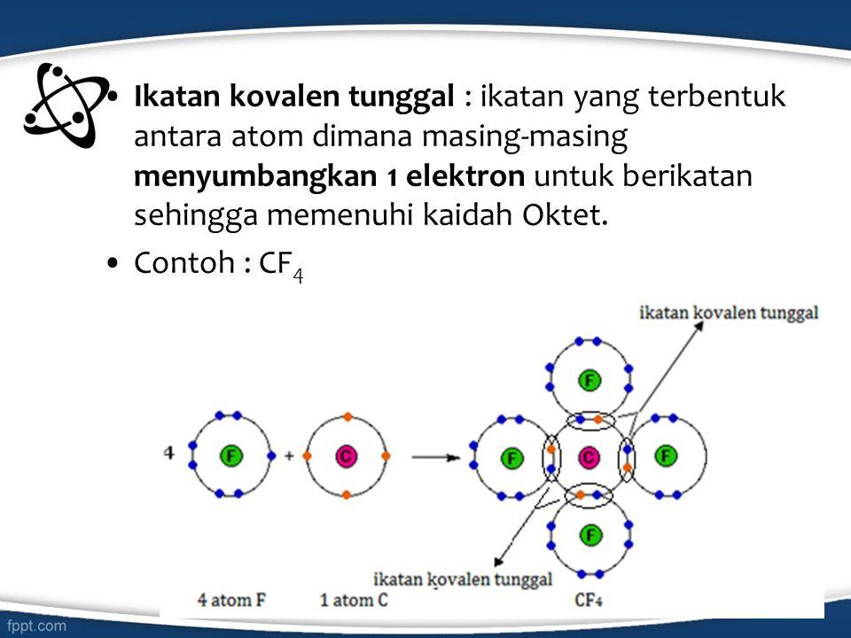 Ikatan kovalen tunggal : ikatan yang terbentuk antara atom dimana masing-masing menyumbangkan 1 elektron untuk berikatan sehingga memenuhi kaidah Oktet.