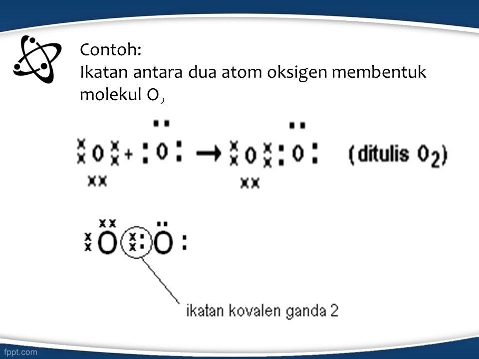 Contoh: Ikatan antara dua atom oksigen membentuk molekul O2