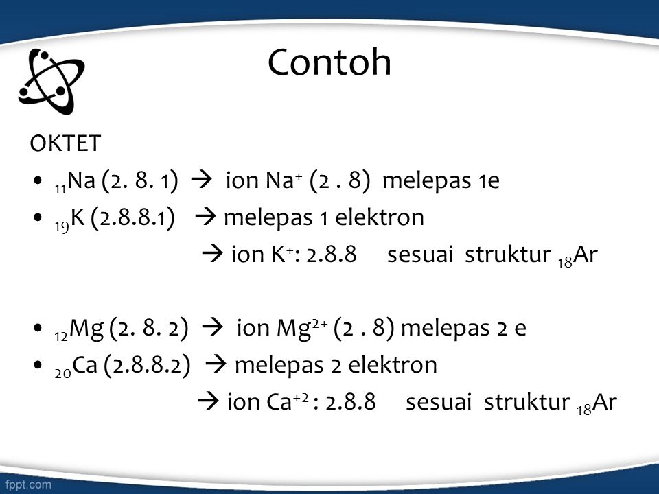 Contoh OKTET 11Na (2. 8. 1)  ion Na+ (2 . 8) melepas 1e