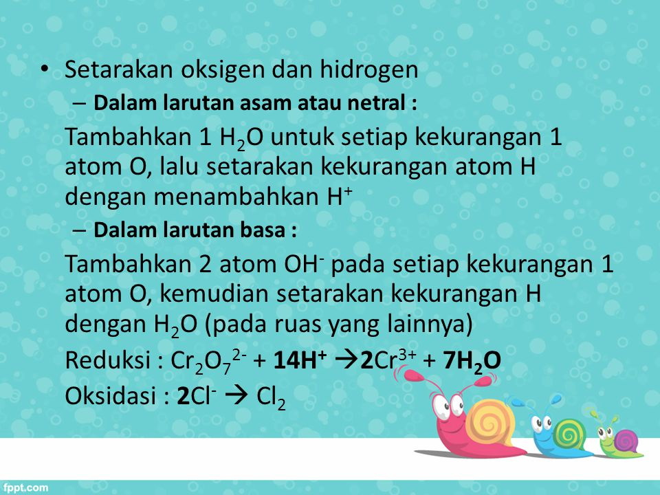 Setarakan oksigen dan hidrogen