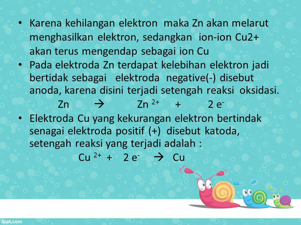 Karena kehilangan elektron maka Zn akan melarut menghasilkan elektron, sedangkan ion-ion Cu2+ akan terus mengendap sebagai ion Cu