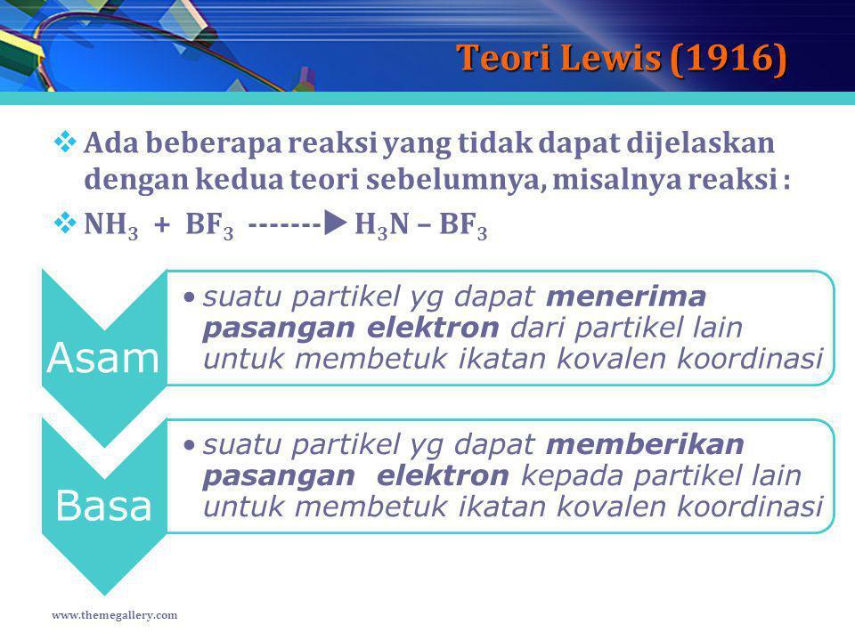 Teori Lewis (1916) Ada beberapa reaksi yang tidak dapat dijelaskan dengan kedua teori sebelumnya, misalnya reaksi :