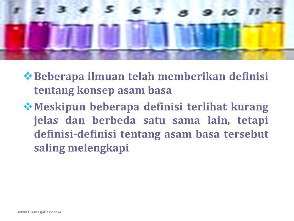 Beberapa ilmuan telah memberikan definisi tentang konsep asam basa