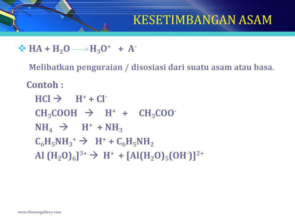 KESETIMBANGAN ASAM HA + H2O H3O+ + A-