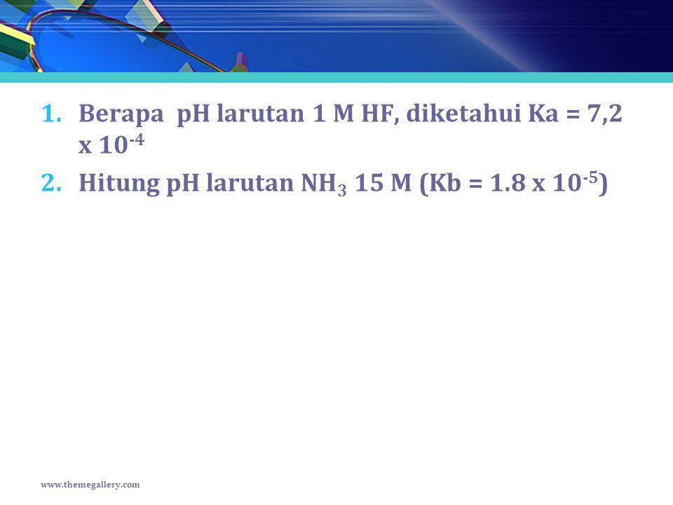 Berapa pH larutan 1 M HF, diketahui Ka = 7,2 x 10-4