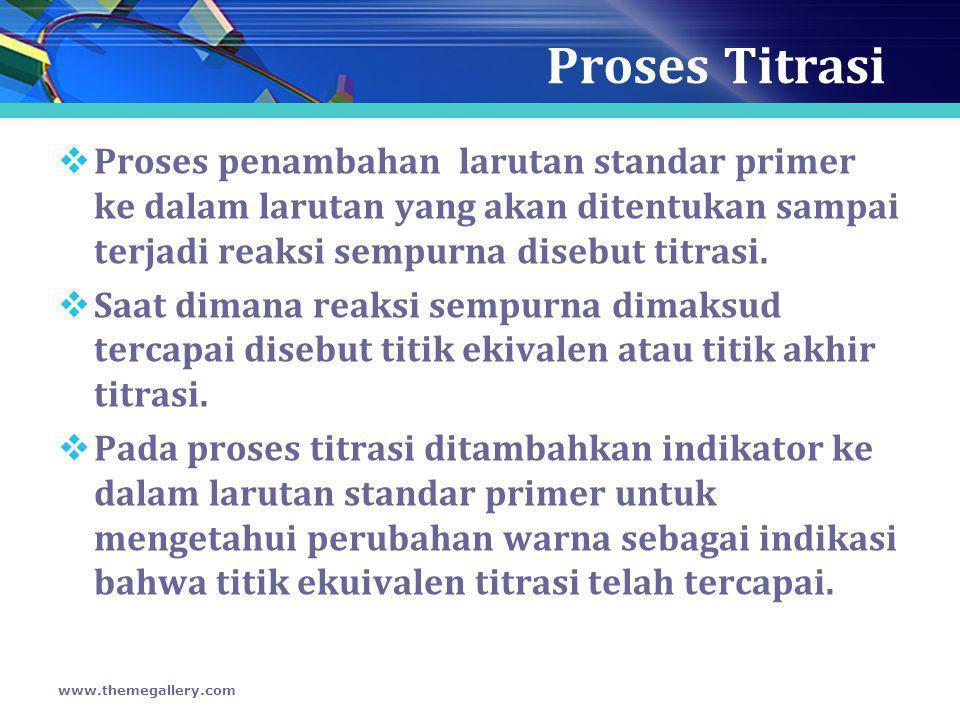 Proses Titrasi Proses penambahan larutan standar primer ke dalam larutan yang akan ditentukan sampai terjadi reaksi sempurna disebut titrasi.