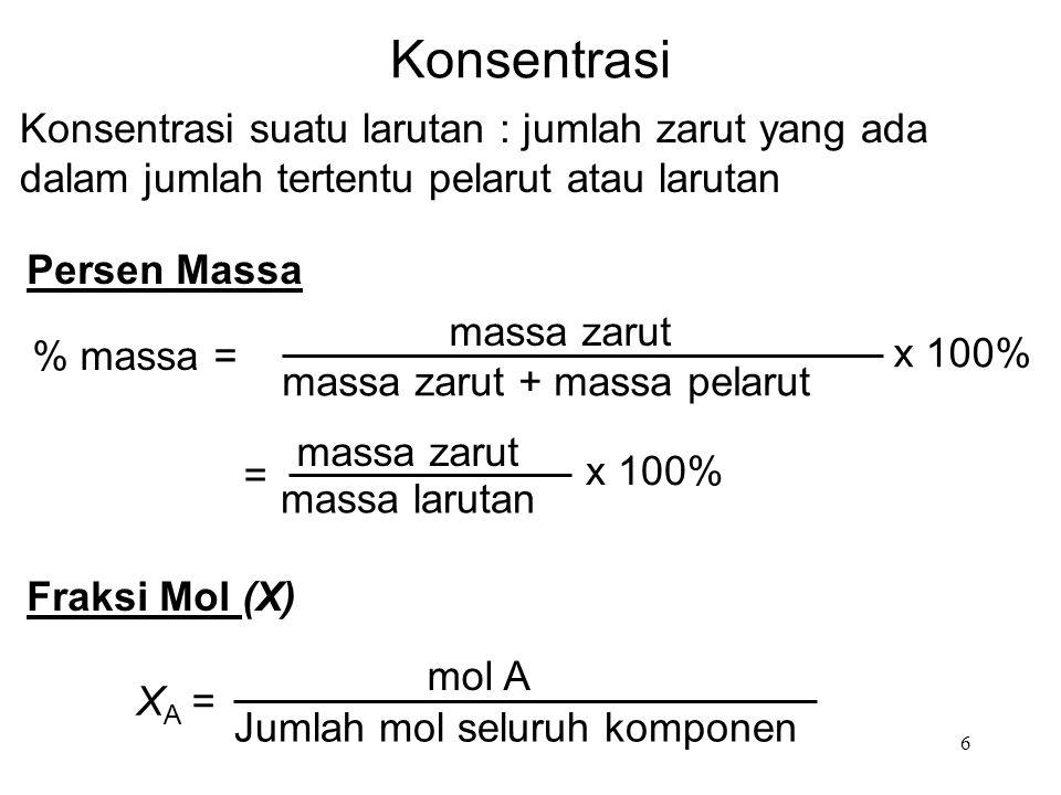 Konsentrasi Konsentrasi suatu larutan : jumlah zarut yang ada dalam jumlah tertentu pelarut atau larutan.