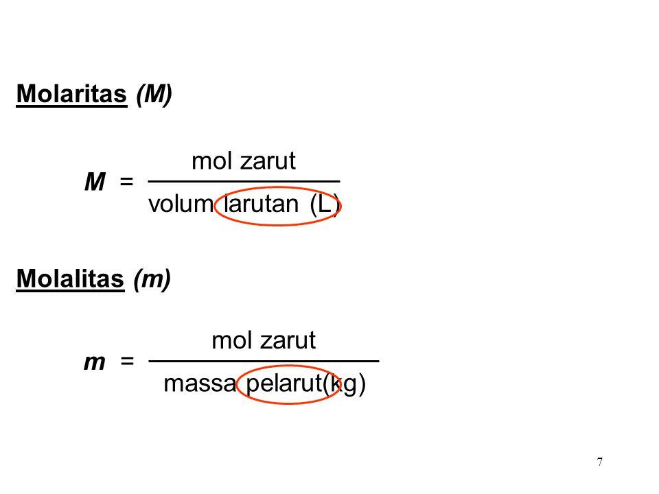 Molaritas (M) M = mol zarut volum larutan (L) Molalitas (m) m = mol zarut massa pelarut(kg)