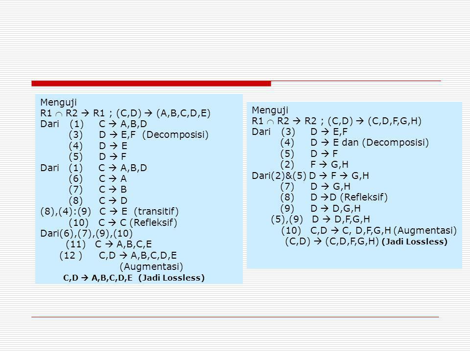 (8),(4):(9) C  E (transitif) (10) C  C (Refleksif)