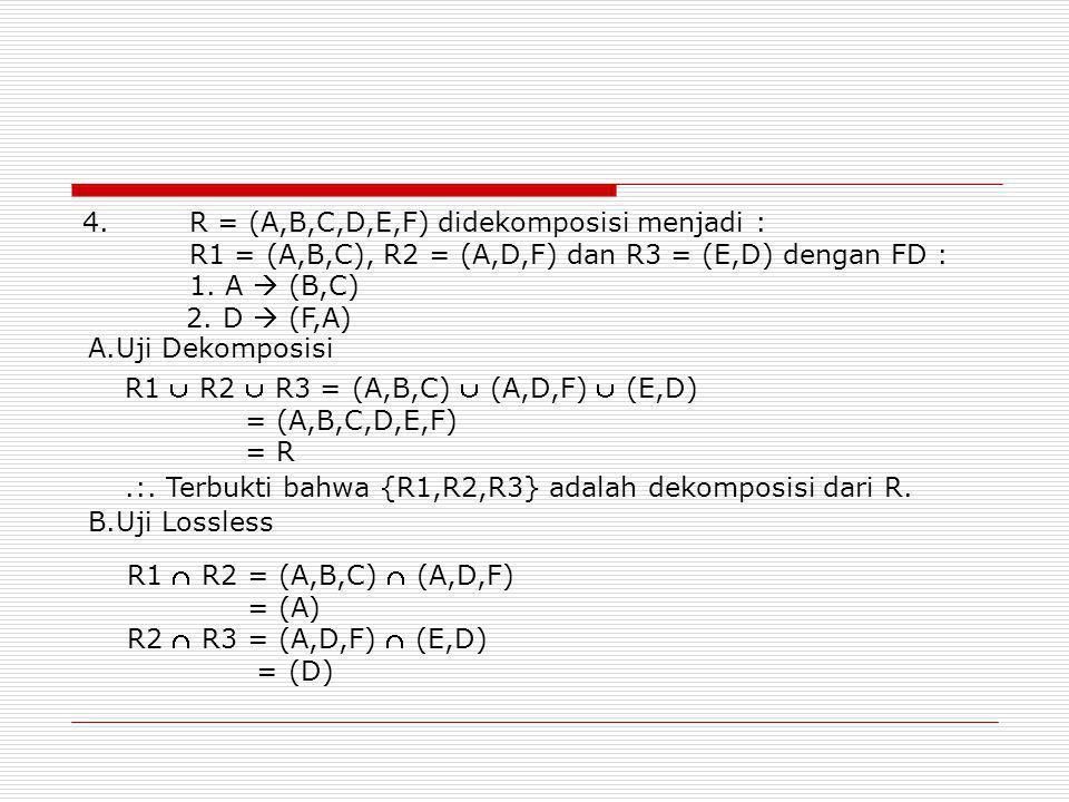 4. R = (A,B,C,D,E,F) didekomposisi menjadi :