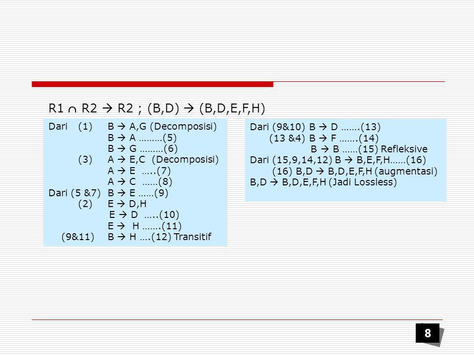 R1  R2  R2 ; (B,D)  (B,D,E,F,H) 8 Dari (1) B  A,G (Decomposisi)