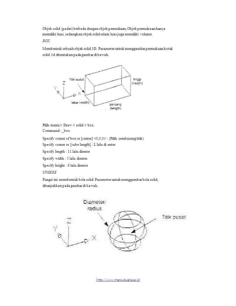 Objek solid (padat) berbeda dengan objek permukaan, Objek permukaan hanya