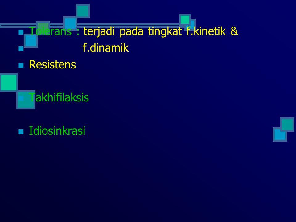 Tolerans : terjadi pada tingkat f.kinetik &