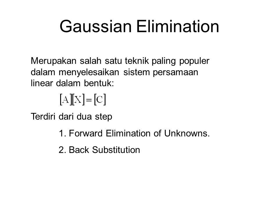 Gaussian Elimination Merupakan salah satu teknik paling populer dalam menyelesaikan sistem persamaan linear dalam bentuk: