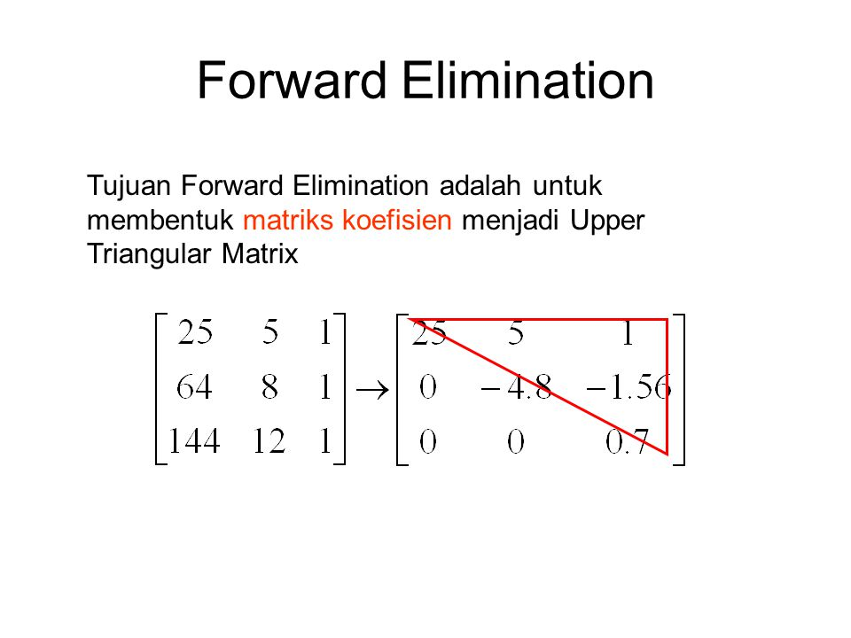 Forward Elimination Tujuan Forward Elimination adalah untuk membentuk matriks koefisien menjadi Upper Triangular Matrix.