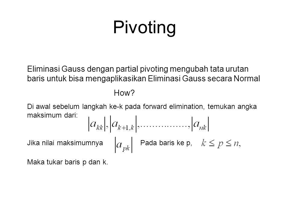 Pivoting Eliminasi Gauss dengan partial pivoting mengubah tata urutan baris untuk bisa mengaplikasikan Eliminasi Gauss secara Normal.