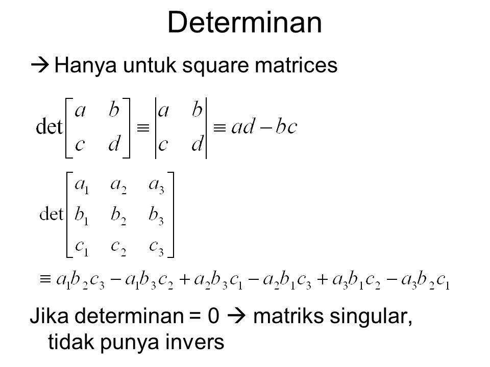 Determinan Hanya untuk square matrices