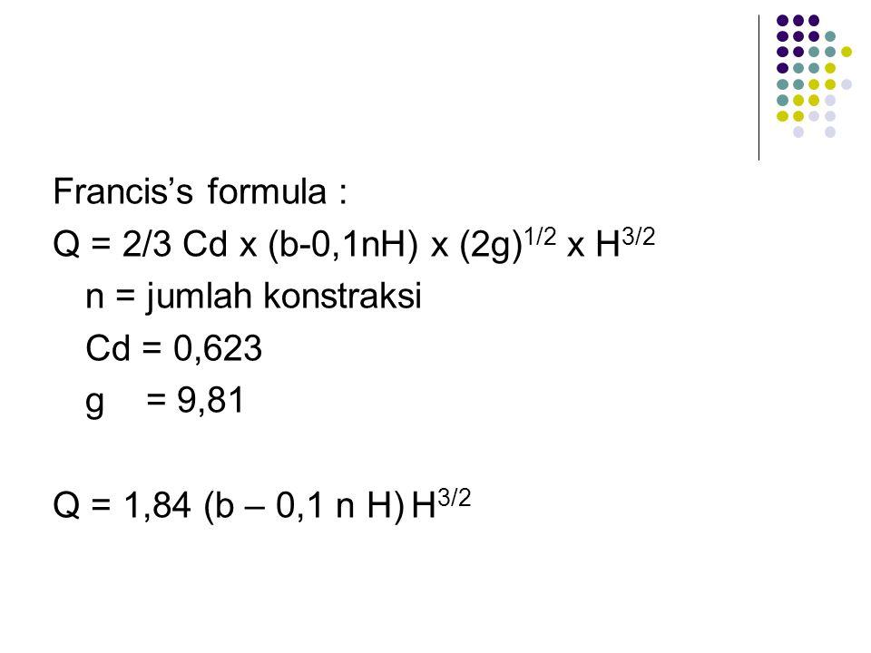 Francis's formula : Q = 2/3 Cd x (b-0,1nH) x (2g)1/2 x H3/2. n = jumlah konstraksi. Cd = 0,623. g = 9,81.