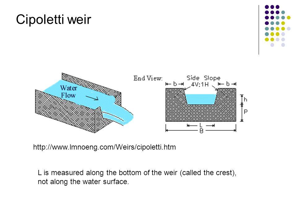 Cipoletti weir http://www.lmnoeng.com/Weirs/cipoletti.htm