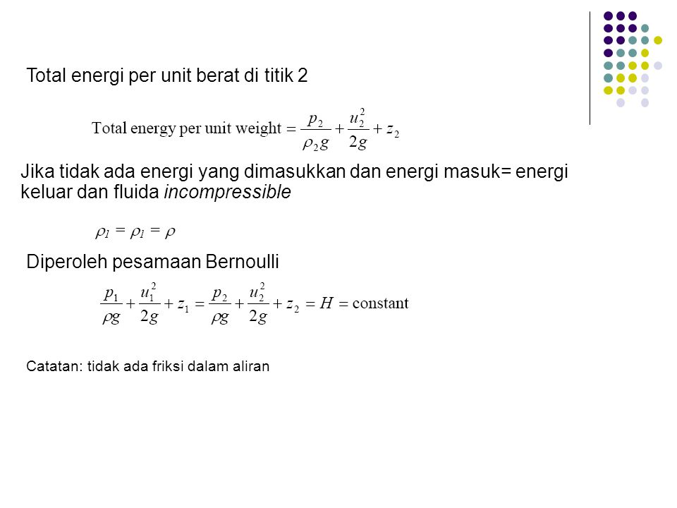 Total energi per unit berat di titik 2