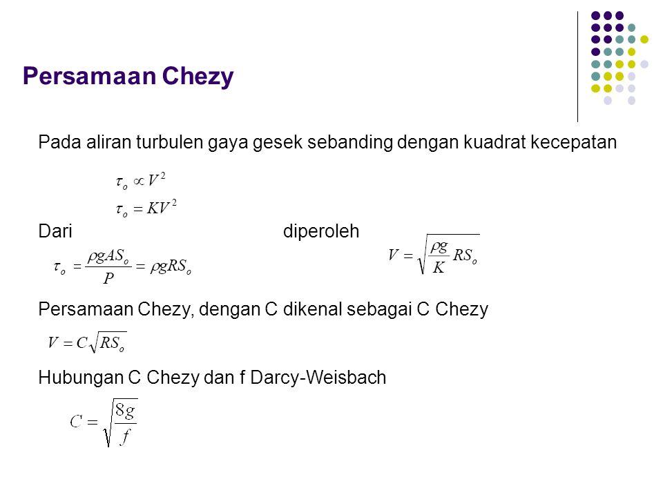 Persamaan Chezy Pada aliran turbulen gaya gesek sebanding dengan kuadrat kecepatan. Dari. diperoleh.