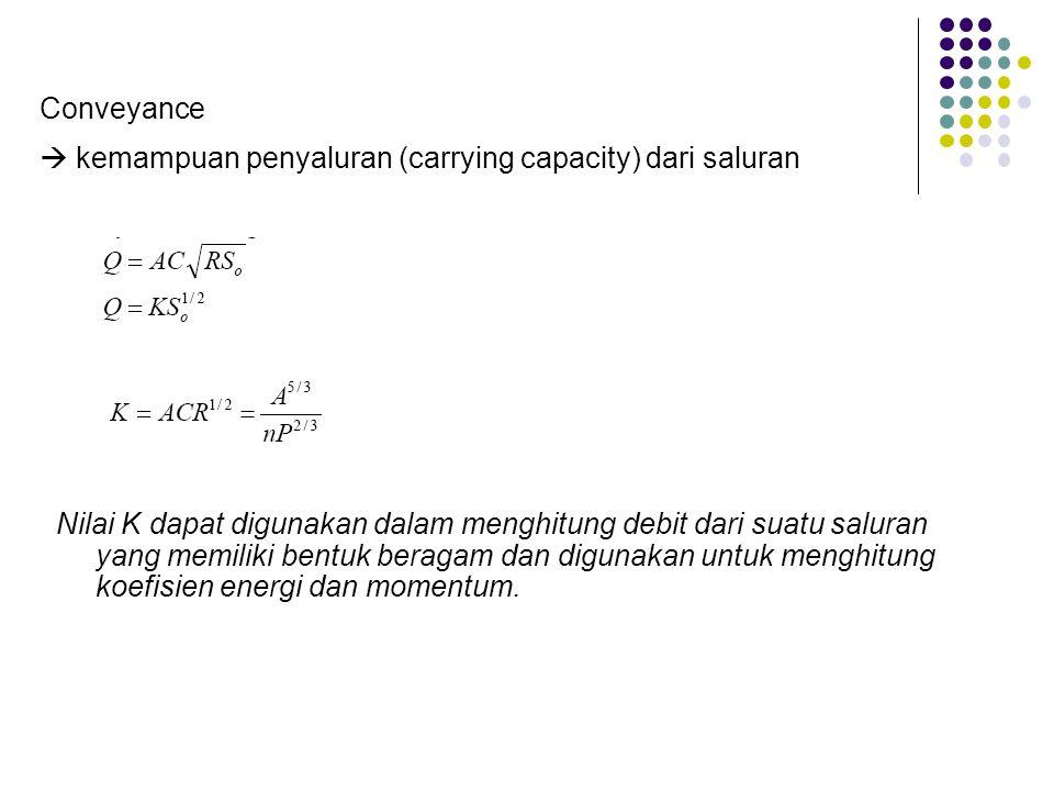 Conveyance  kemampuan penyaluran (carrying capacity) dari saluran.