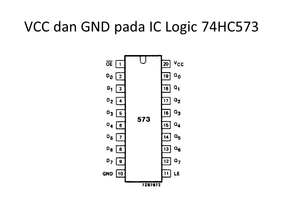 VCC dan GND pada IC Logic 74HC573