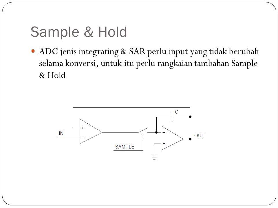 Sample & Hold ADC jenis integrating & SAR perlu input yang tidak berubah selama konversi, untuk itu perlu rangkaian tambahan Sample & Hold.