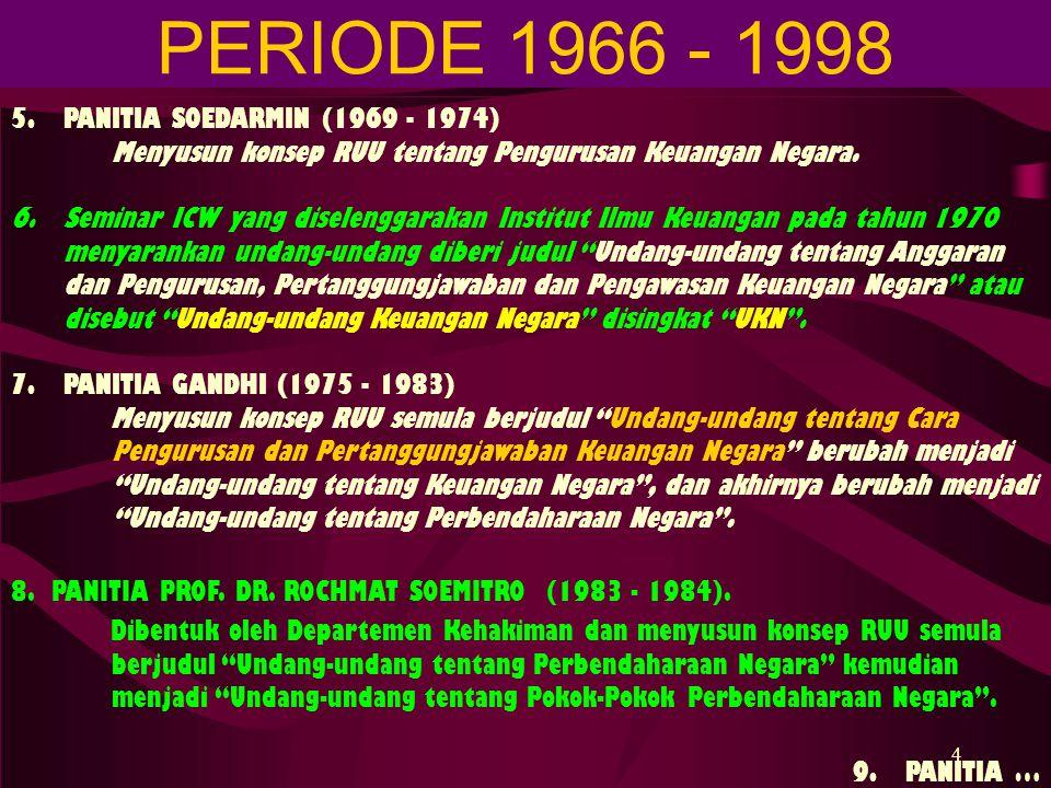 PERIODE 1966 - 1998 5. PANITIA SOEDARMIN (1969 - 1974)