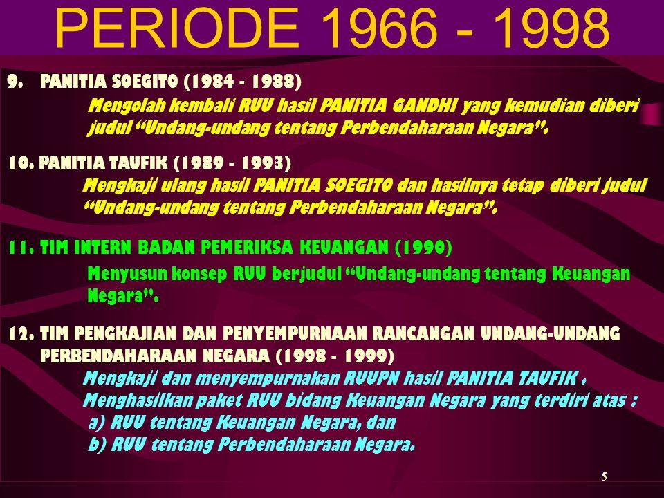 PERIODE 1966 - 1998 9. PANITIA SOEGITO (1984 - 1988)