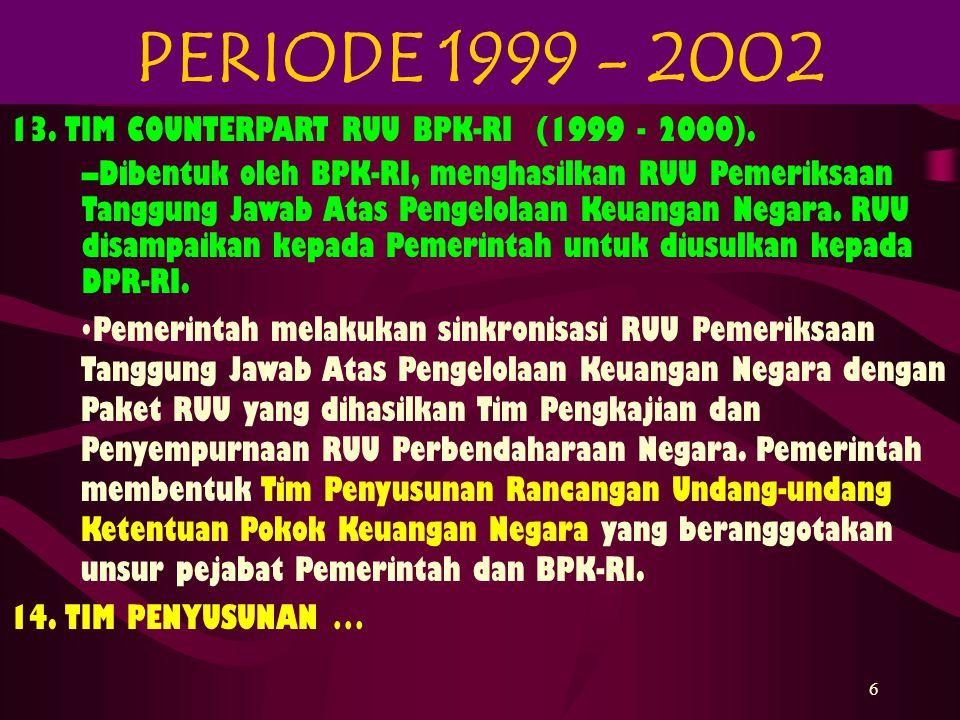 PERIODE 1999 - 2002 13. TIM COUNTERPART RUU BPK-RI (1999 - 2000).