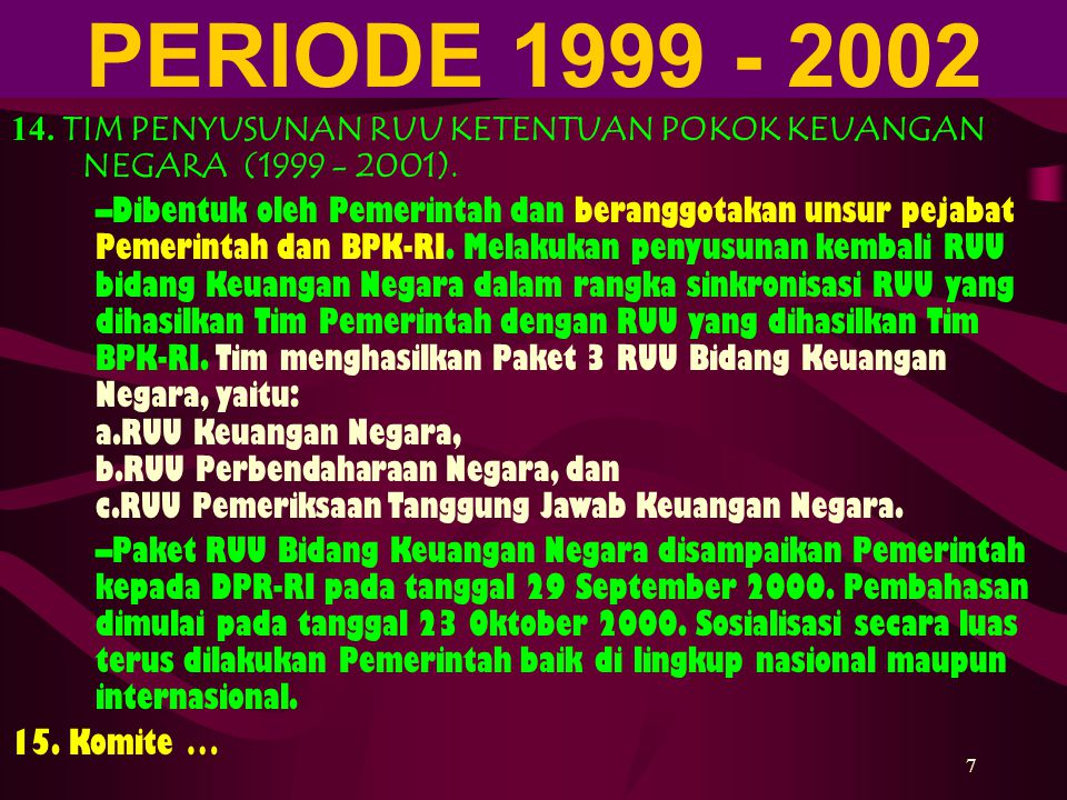 PERIODE 1999 - 2002 4/6/2017. 14. TIM PENYUSUNAN RUU KETENTUAN POKOK KEUANGAN NEGARA (1999 - 2001).