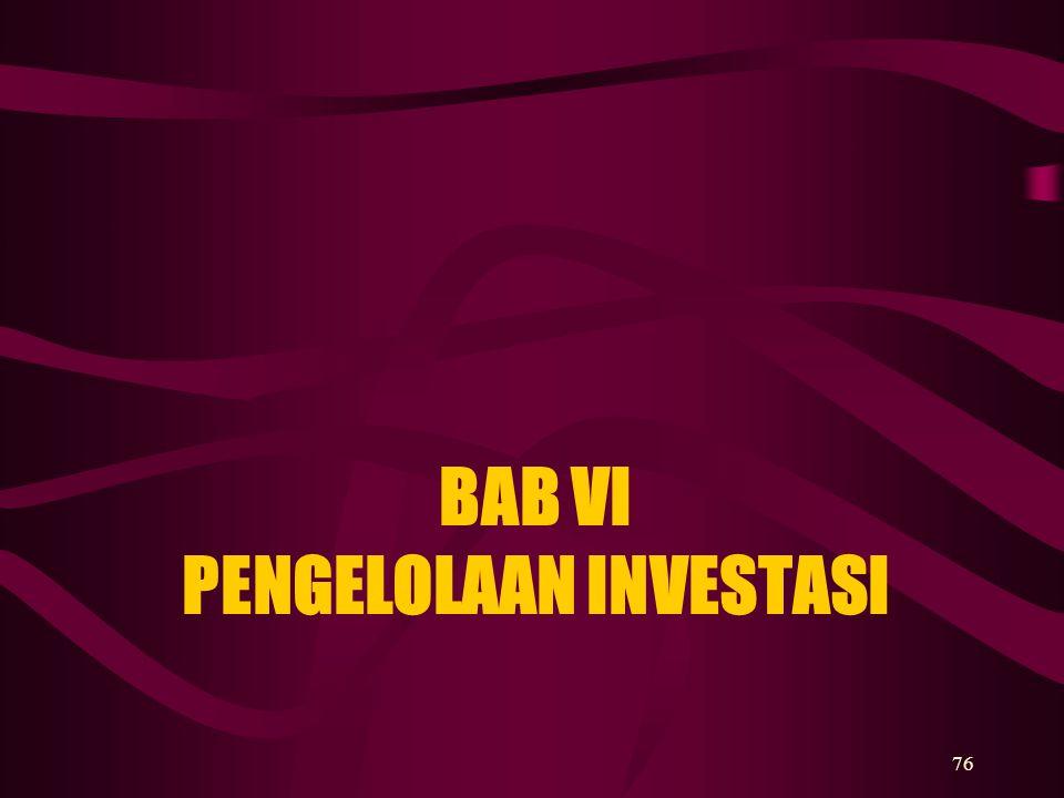 BAB VI PENGELOLAAN INVESTASI