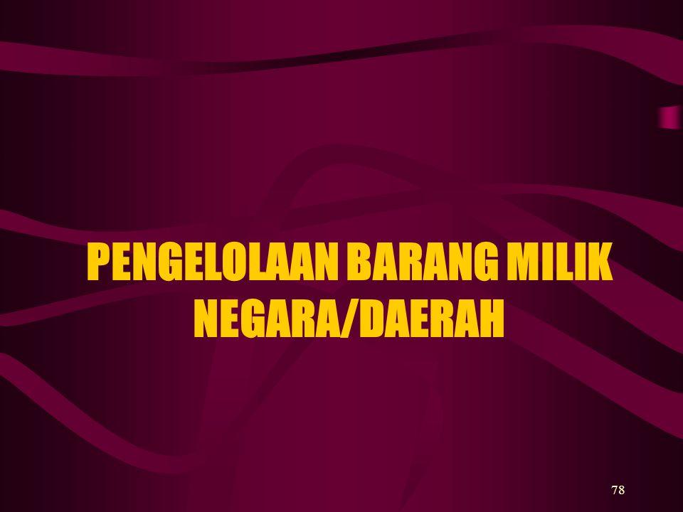 PENGELOLAAN BARANG MILIK NEGARA/DAERAH